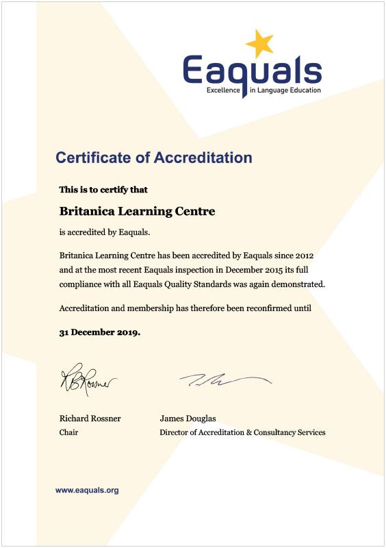 certificat EAQUALS